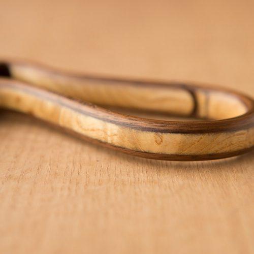 Walnut and ash burl Carabiner